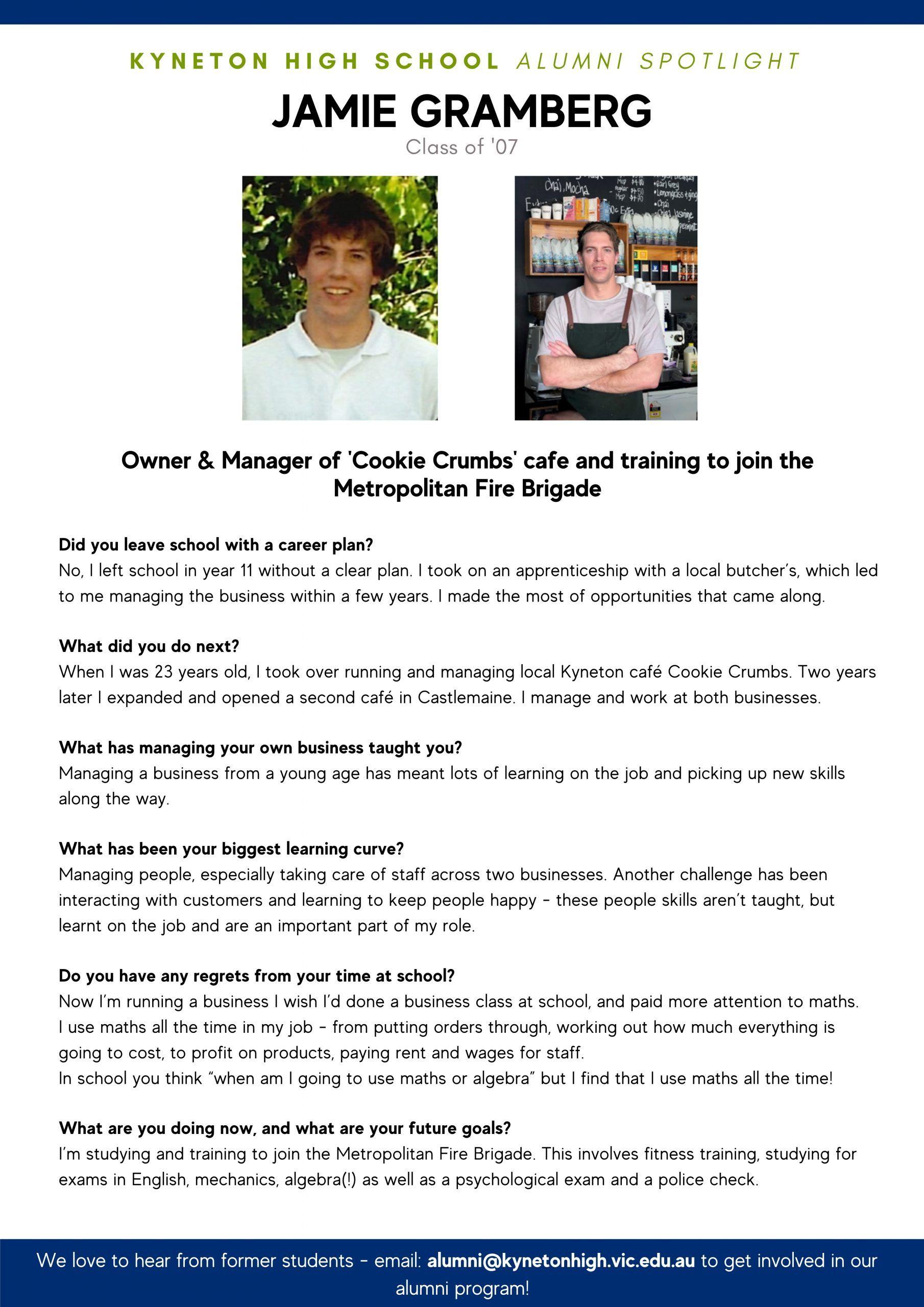 Alumni Spotlight Jamie Gramberg scaled - Kyneton High School - Excellence in Teaching & Learning