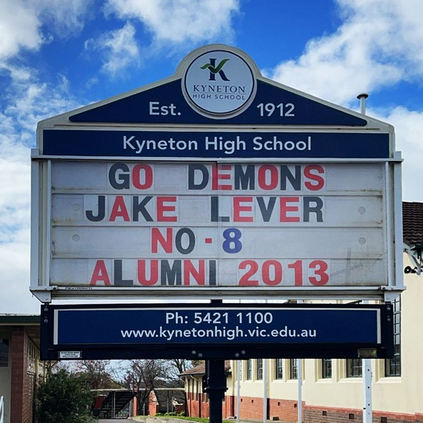 Jake Lever school sign cropped - Kyneton High School - Excellence in Teaching & Learning